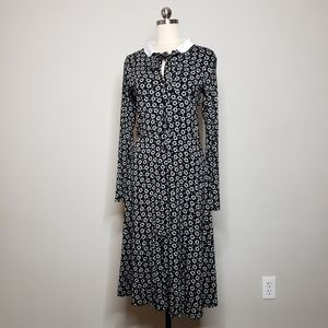 AGNÈS B Black White Floral print long sleeve dress